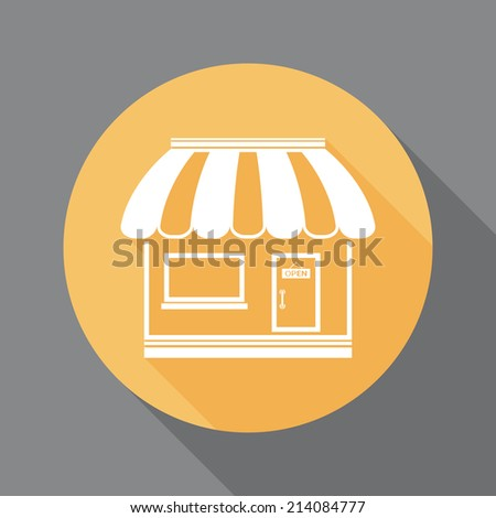 Shop icon with long shadow - stock photo