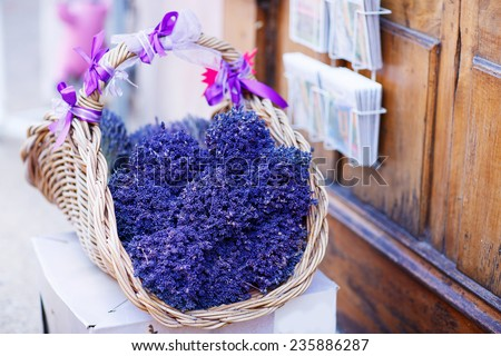 Shop in Provence decorated with lavender and vintage things. Lavender flowers bouquet for selling, gift from Provence. - stock photo
