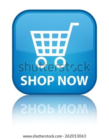 Shop now cyan blue square button - stock photo