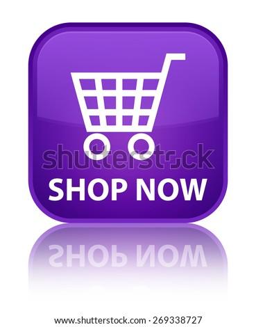 Shop now purple square button - stock photo