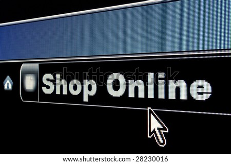 Shop Online concept on an internet browser URL address - stock photo