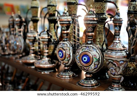 Shop stands with traditional Turkish souvenirs - stock photo