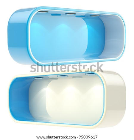 Shop window copyspace blue showcase with backlight illumination, set of two isolated on white - stock photo