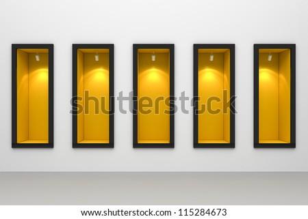 Shop window display with spotlight - stock photo