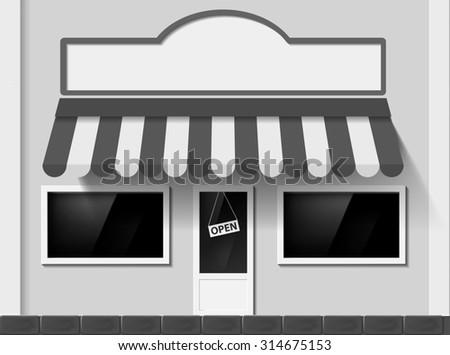 Shop window. Facade of the building. Stock image. - stock photo