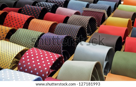 shop window with ties in Italy, Europe - stock photo