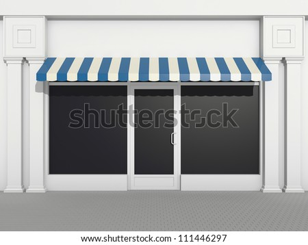 Shopfront - classic store front with blue awnings - stock photo