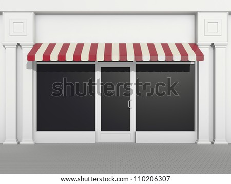 Shopfront - classic store front with burgundy awnings - stock photo