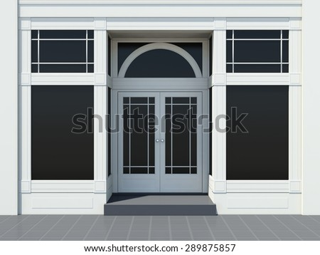 Shopfront with large windows. Classic White store facade. - stock photo