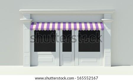 Shopfront with large windows. White store facade. - stock photo