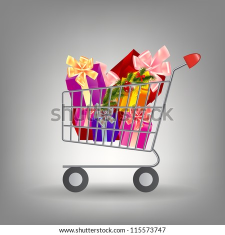 Shoping cart with Christmas gifts.  Raster version - stock photo