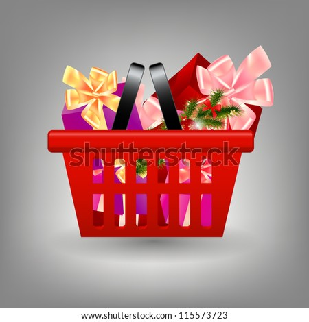 Shoping cart with Christmas gifts.  Raster version  illustration - stock photo