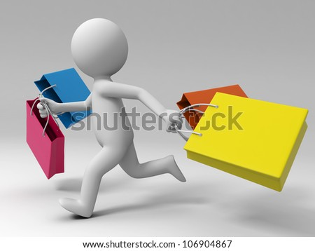 Shopping/ a people is running with some shopping bags - stock photo