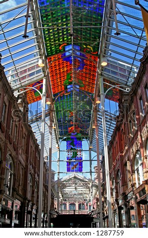 Shopping arcade in Leeds UK - stock photo