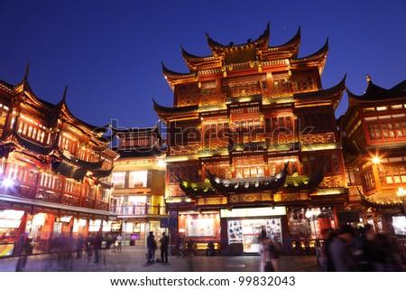 Shopping area in Shanghai, China - stock photo