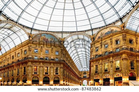 Shopping art gallery in Milan. Galleria Vittorio Emanuele II, Italy - stock photo