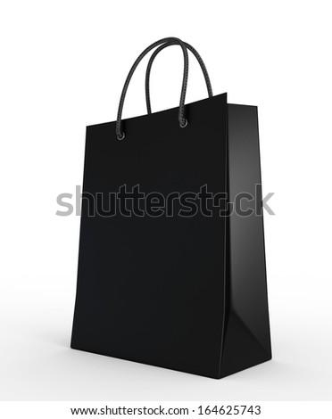 Shopping bag black isolated on a white background - stock photo