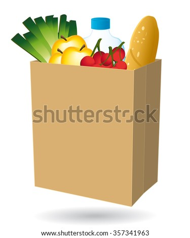 Shopping bag filled with food. Free delivery or nearby merchant icon. II  - stock photo
