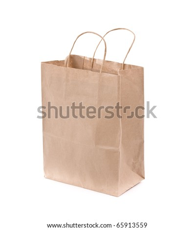 Shopping bag made from brown recycled paper. Add your own design or logo. - stock photo