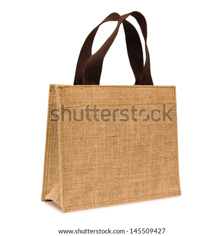 Shopping bag made out of sack on white background - stock photo