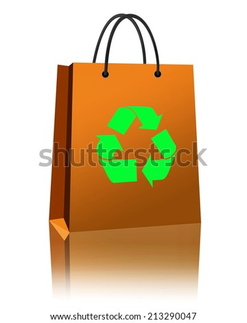 Shopping Bag recycle Isolated on white background - stock photo