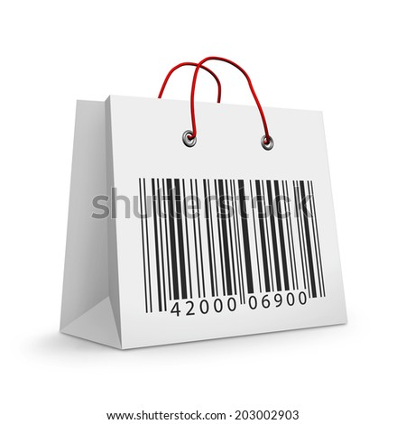 shopping bag with barcode isolated on white background  - stock photo