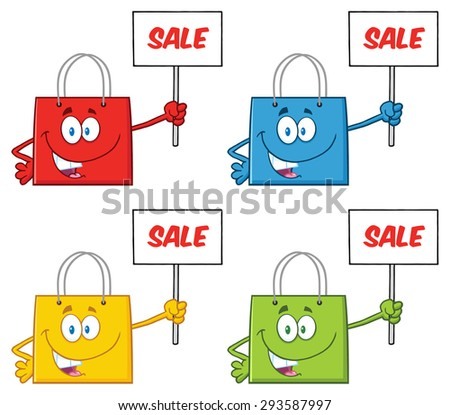 Shopping Bags Cartoon Character 2. Raster Collection Set - stock photo