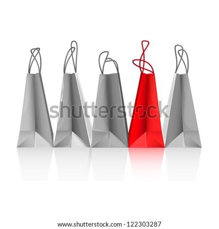 Shopping bags illustration - raster version - stock photo