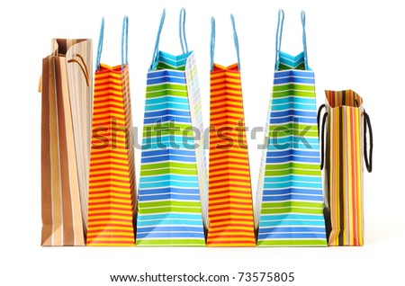 Shopping bags isolated on white - stock photo