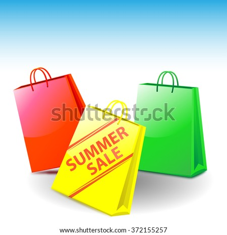 shopping bags - on one of it is standing summer sale - stock photo