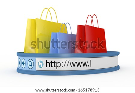 shopping bags with an internet browser address bar, concept of online shopping (3d render) - stock photo