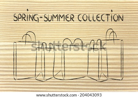 shopping bags with spring summer collection - stock photo