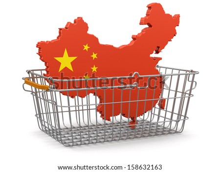Shopping Basket and China map (clipping path included) - stock photo