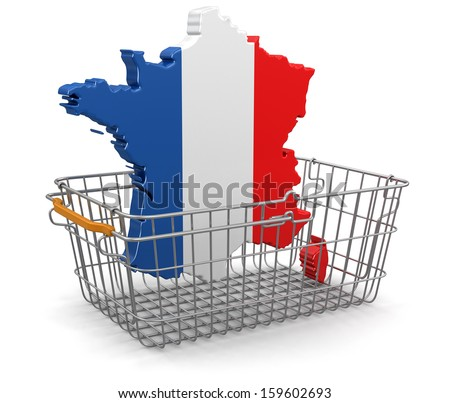 Shopping Basket and French map (clipping path included) - stock photo