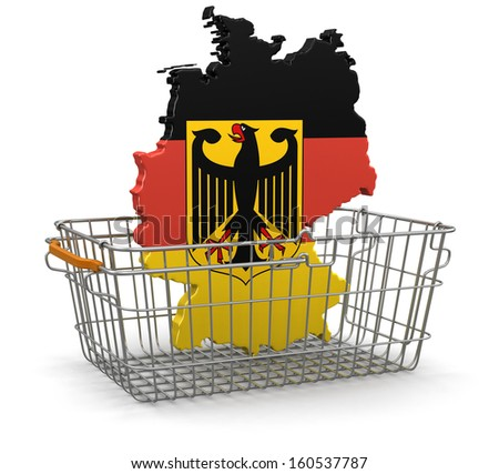 Shopping Basket and German map (clipping path included) - stock photo