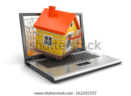 Shopping Basket and Laptop with House (clipping path included) - stock photo