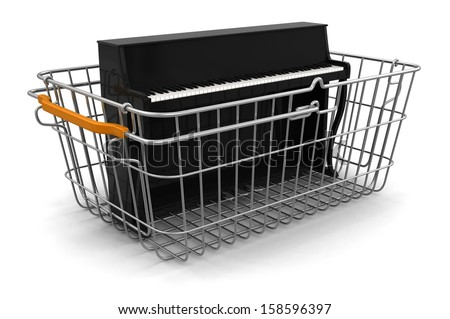 Shopping Basket and Piano (clipping path included) - stock photo