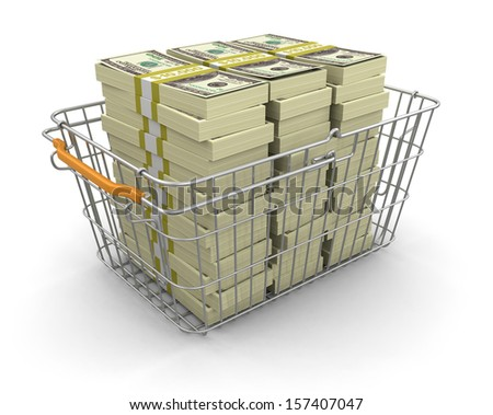 Shopping Basket and Pile of Dollars (clipping path included) - stock photo