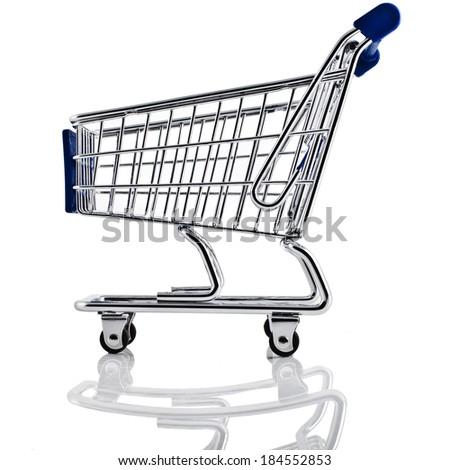 Shopping basket cart  isolated on white background - stock photo
