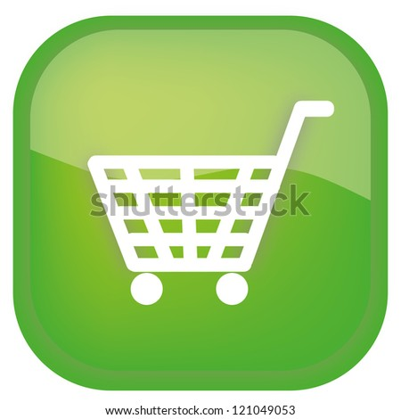 shopping basket green glossy icon on white background - stock photo