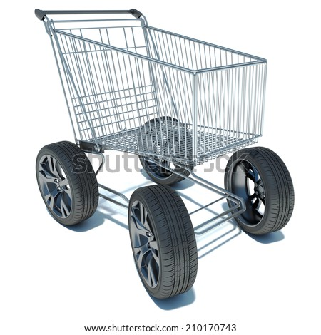 Shopping basket on the road wheels. The concept of large purchases - stock photo