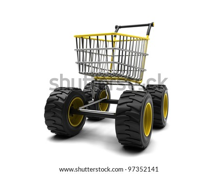 Shopping basket with big wheels on a white background - stock photo