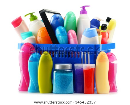 Shopping basket with body care and beauty products isolated on white - stock photo