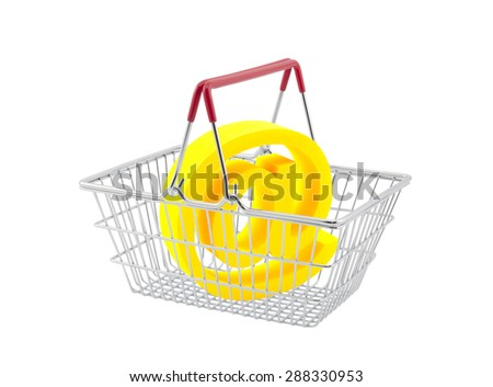 Shopping basket with email symbol isolated on white background - stock photo