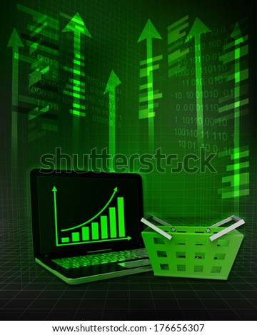 shopping basket with positive online results in business illustration - stock photo