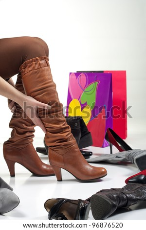 Shopping boots - stock photo
