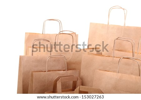 Shopping brown recycle gift bags isolated on white background - stock photo