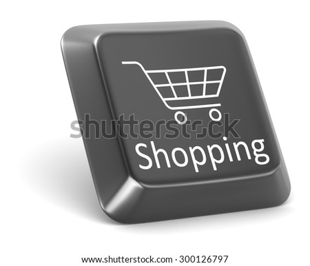 Shopping button , This is a computer generated and 3d rendered picture. - stock photo
