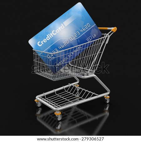 Shopping Cart and Credit Card (clipping path included) - stock photo