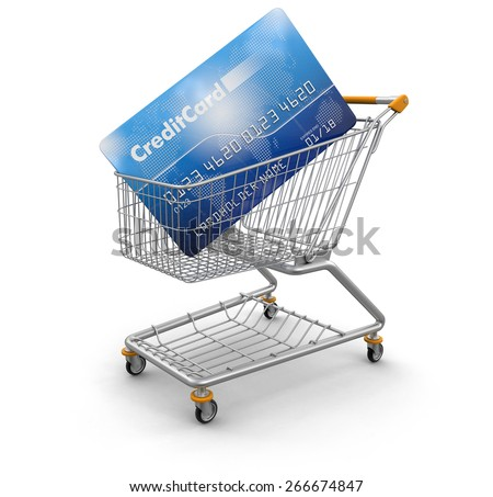 Shopping Cart and Credit Card (clipping path included) Elements of this image furnished by NASA - stock photo
